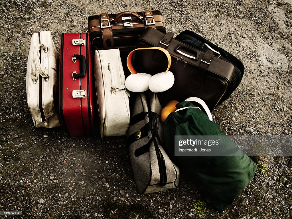 Suitcases on the ground, Sweden. : Stock Photo