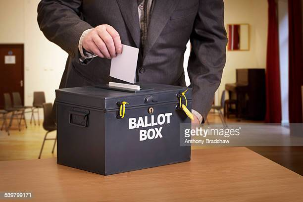 Suited man casting his vote