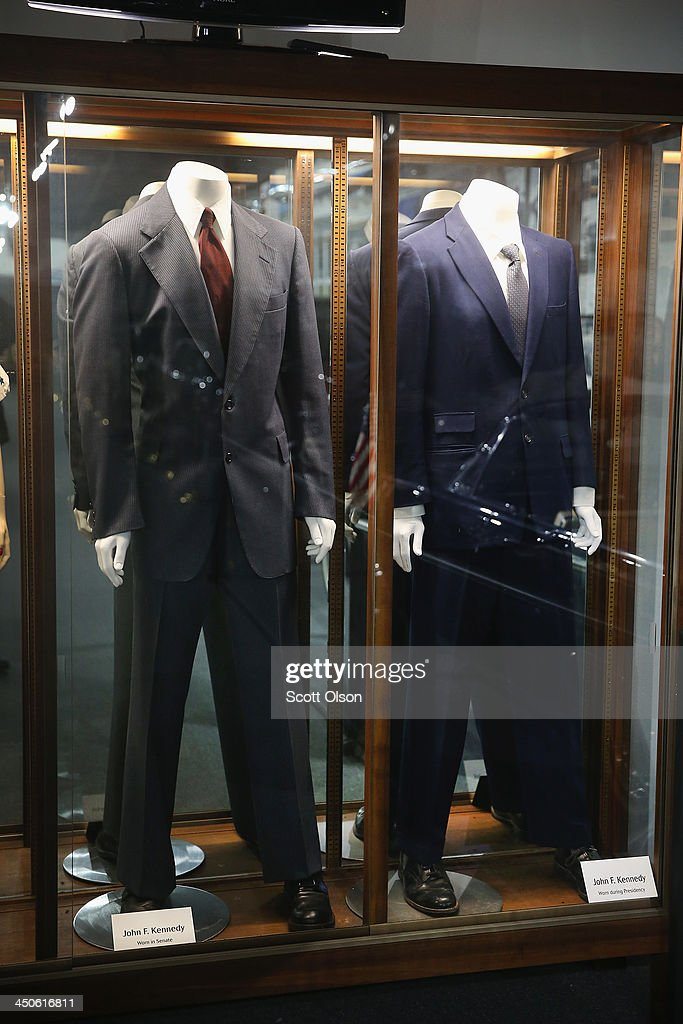 Suits that President John F. Kennedy wore while he was in the senate and White House are displayed at the Historic Auto Attractions museum on November 19, 2013 in Roscoe, Illinois. The museum has a large collection of items from Kennedy's life and death on display. It has been fifty years since John F. Kennedy was assassinated on November 22, 1963.