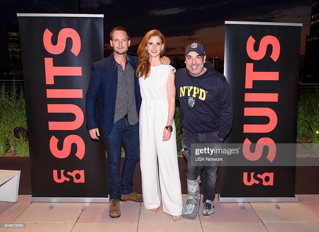 SUITS -- Suits/Entertainment Weekly Season 6 Premiere Screening -- Pictured: (l-r) Patrick J. Adams, Sarah Rafferty, Rick Hoffman --