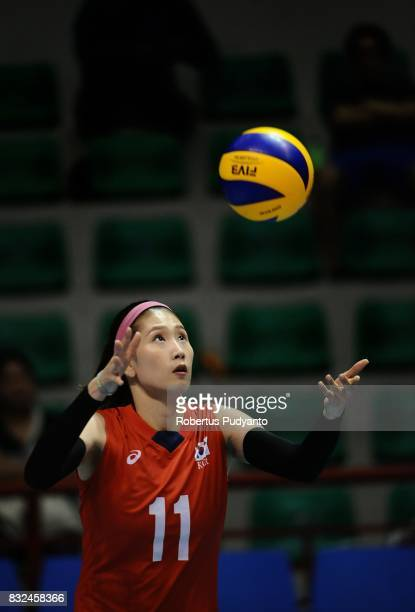 Suji Kim of Korea serves during the 19th Asian Senior Women's Volleyball Championship 2017 Semifinal match between Thailand and Korea at Alonte...