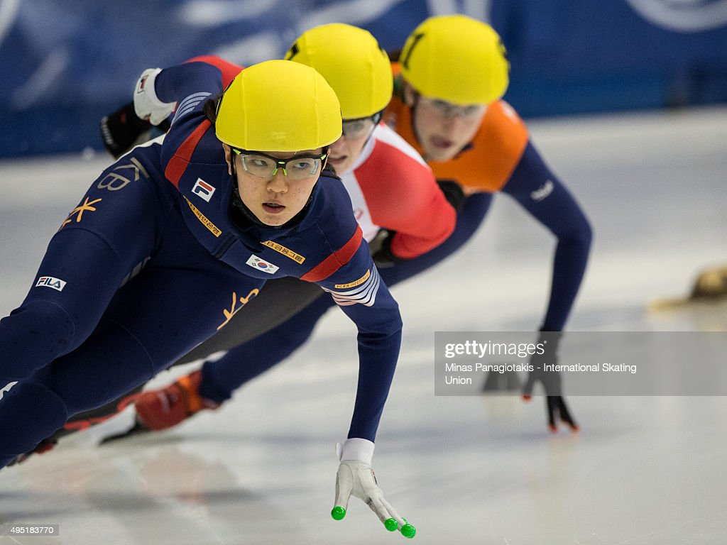 Suk Hee Shim of Korea competes on Day 1 of the ISU World Cup Short Track Speed Skating competition at Maurice-Richard Arena on October 31, 2015 in Montreal, Quebec, Canada.