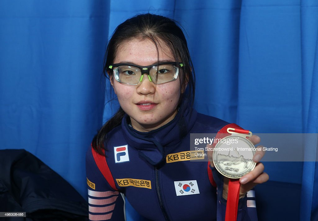 Suk Hee Shim of Korea poses with her gold medal after winning the ladie' 1000m final on Day 2 of the ISU World Cup Short Track Speed Skating competition at MasterCard Centre on November 8, 2015 in Toronto, Ontario, Canada.