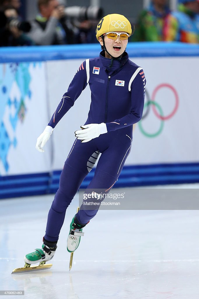 Suk Hee Shim of South Korea celebrates winning the gold medal in the Short Track Ladies' 3000m Relay Final at Iceberg Skating Palace on day 11 of the 2014 Sochi Winter Olympics on February 18, 2014 in Sochi, Russia.