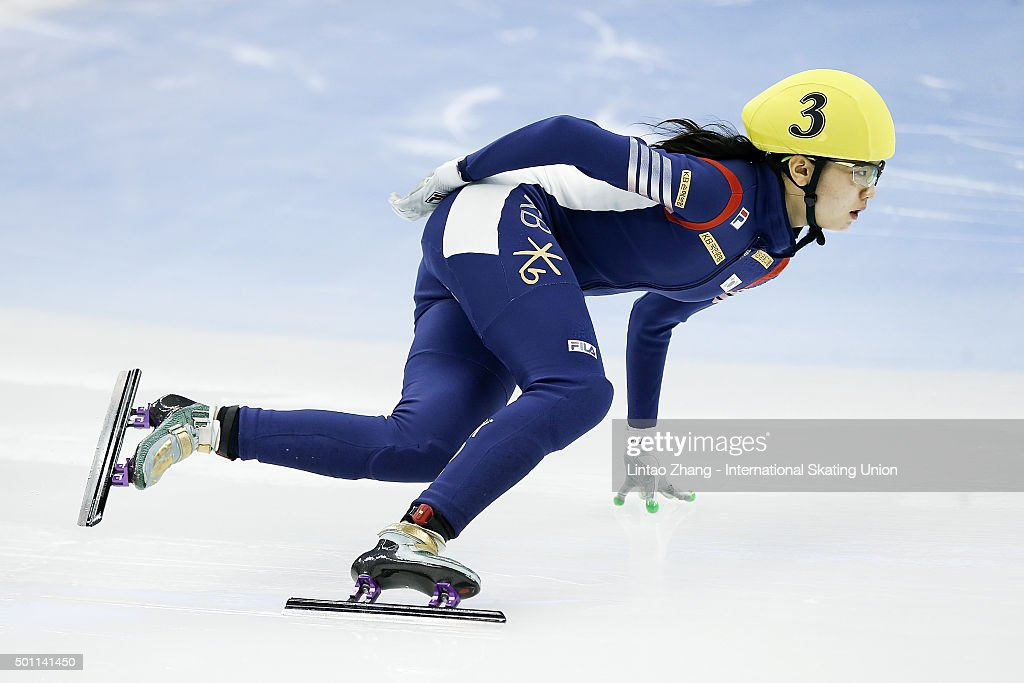 Suk Hee Shim of South Korea compete in the women's 1000m Semifinal on day one of the ISU World Cup Short Track speed skating event at the Oriental Sports Center on December 12, 2015 in Shanghai, China.