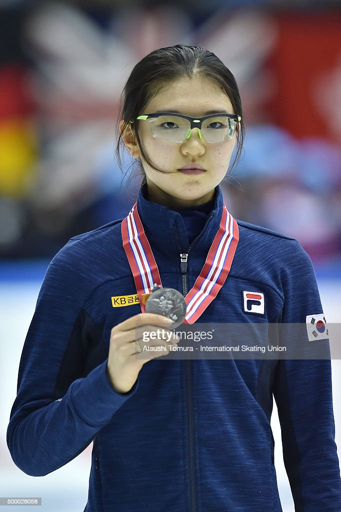 Suk Hee Shim of South Korea poses with her silver medal after the Ladies 1500m final on day two of the ISU World Cup Short Track Speed Skating 2015 Nagoya at the Nippon Gaishi Arena on December 5, 2015 in Nagoya, Japan.