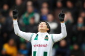 Suk HyunJun of FC Groningen during the Dutch Eredivisie match between FC Groningen and PSV Eindhoven at the Euroborg on February 19 2012 in Groningen...