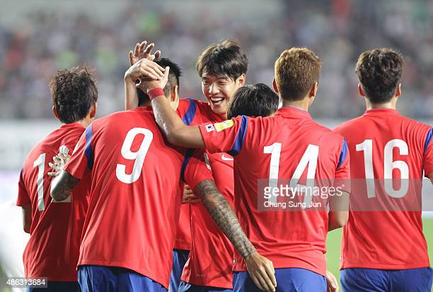 Suk HyunJun of South Korea celebrates after score a goal during the 2018 FIFA World Cup Qualifier Round 2 Group G match between South Korea and Laos...