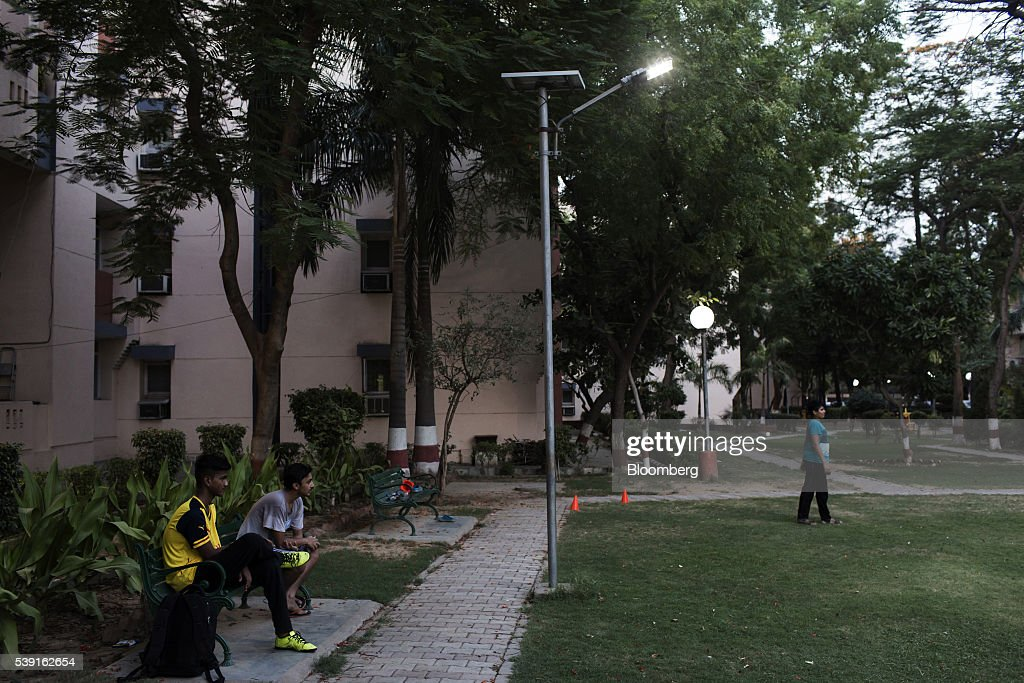 solar outdoor light illuminates the grounds of a reserve bank of india