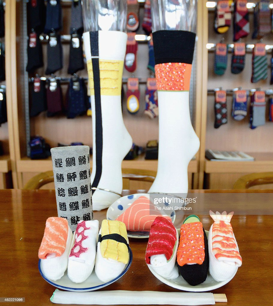 Sukeno Co.'s 'Sushi Socks' resemble sushi when they are rolled up on July 7, 2014 in Takaoka, Toyama, Japan. They are priced at 500 Japanese Yen (4.90 U.S. Dollars) a pair, tax excluded. The company's socks are currently sold at about 50 shops across Japan, including souvenir shops, sushi bars and hotels.