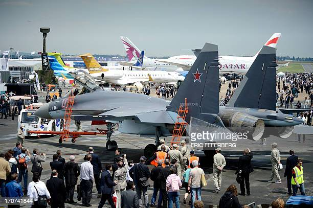 A Sukhoi 35 fighter jet is on display on Le Bourget airport on June 17 2013 on the opening day of the International Paris Air show AFP PHOTO / ERIC...