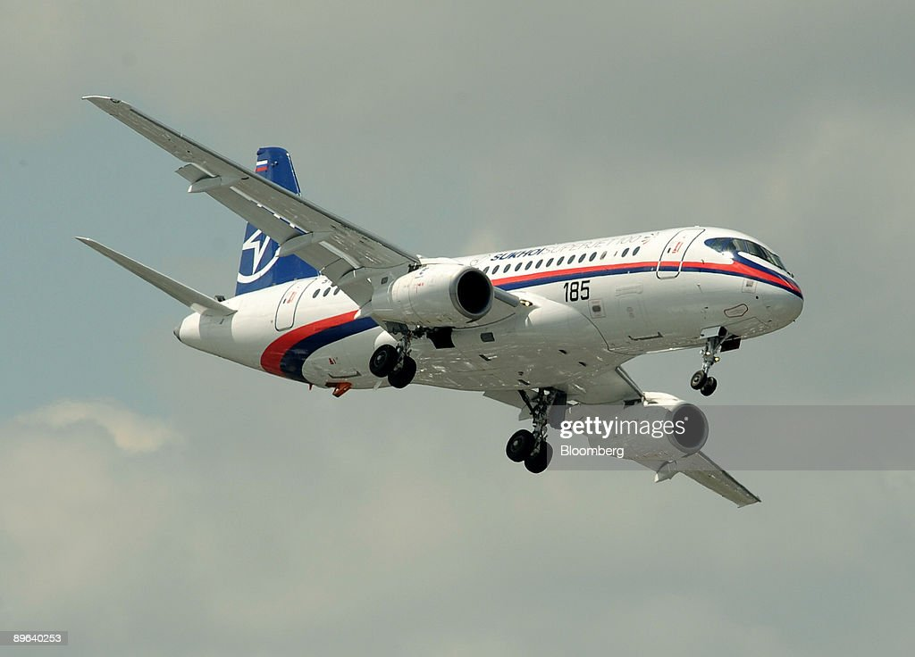 Sukhoi Civil Aircraft SSJ100 Superjet 100 performs an aerial display at the Paris Air Show in Le Bourget France on Tuesday June 16 2009 The 48th...