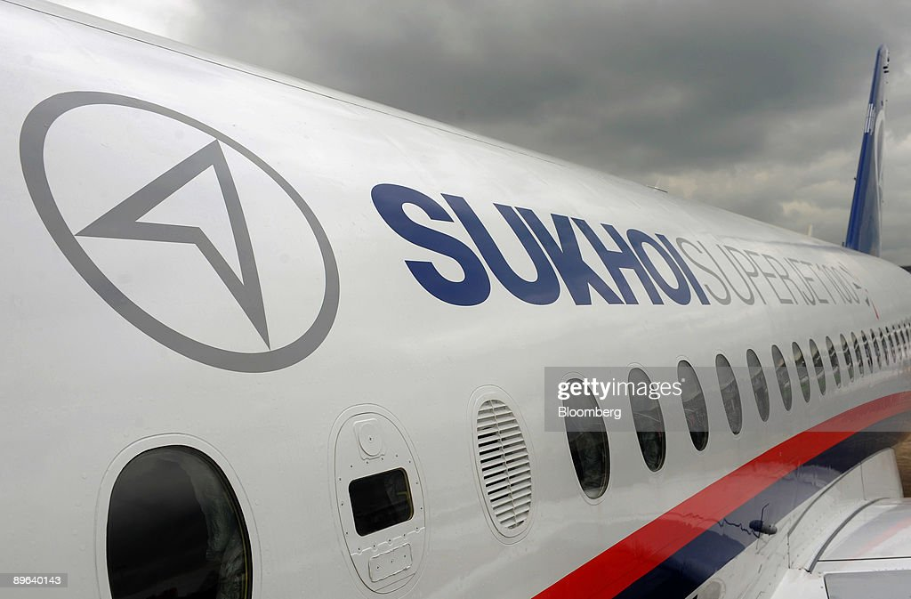 Sukhoi SSJ100 Superjet 100 sits on display at the Paris Air Show in Le Bourget France on Thursday June 18 2009 The 48th International Paris Air Show...
