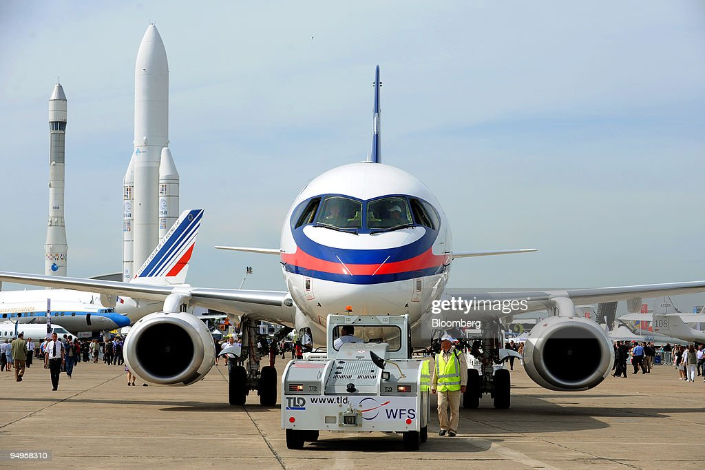 Sukhoi SSJ100 Superjet 100 sits on display at the Paris Air Show in Le Bourget France on Wednesday June 17 2009 The 48th International Paris Air Show...
