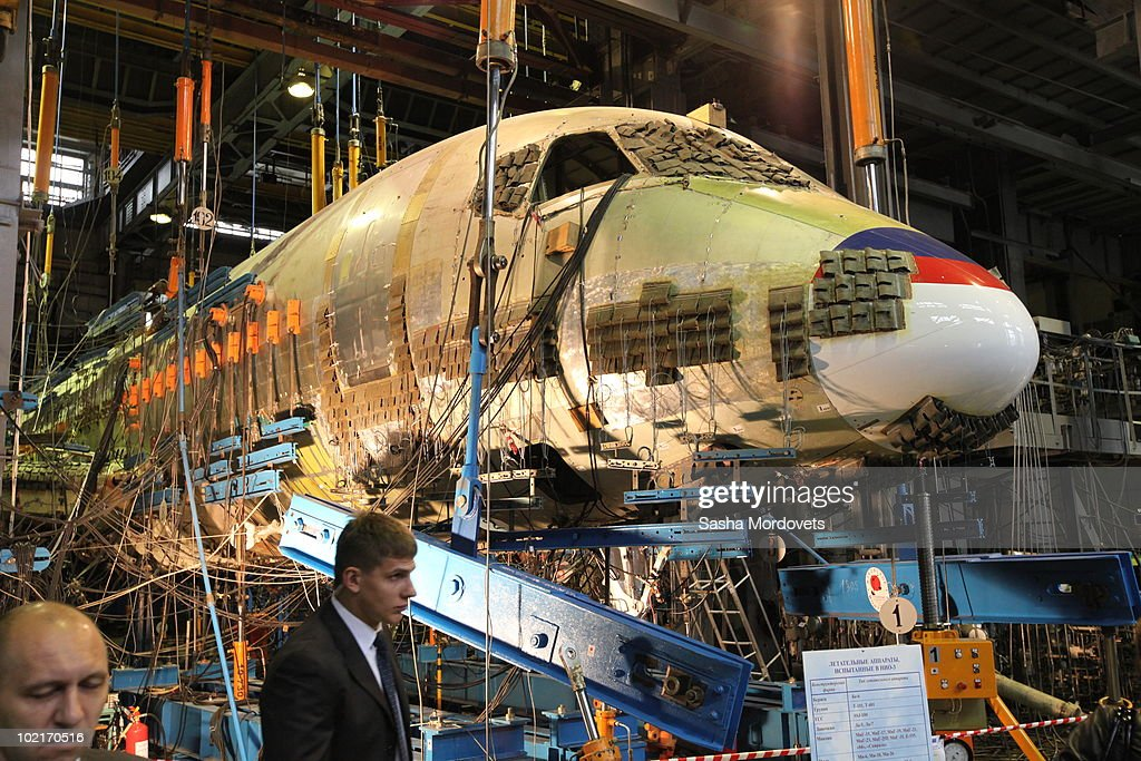 Sukhoi Super Jet 100 plane is seen in a research air laboratory in the Central Aerohydrodynamic Institute on June2010 in Zhukovsky 40 km east of...