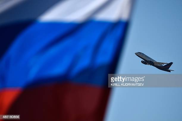 A Sukhoi Superjet 100 performs during the MAKS2015 the International Aviation and Space Show in Zhukovsky outside Moscow on August 25 2015 AFP PHOTO...