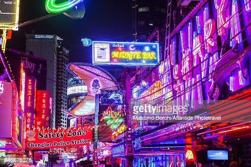 Sukhumvit, signs in the Red Light District of Soi Cowboy, one of the main place for prostitution : Stock Photo