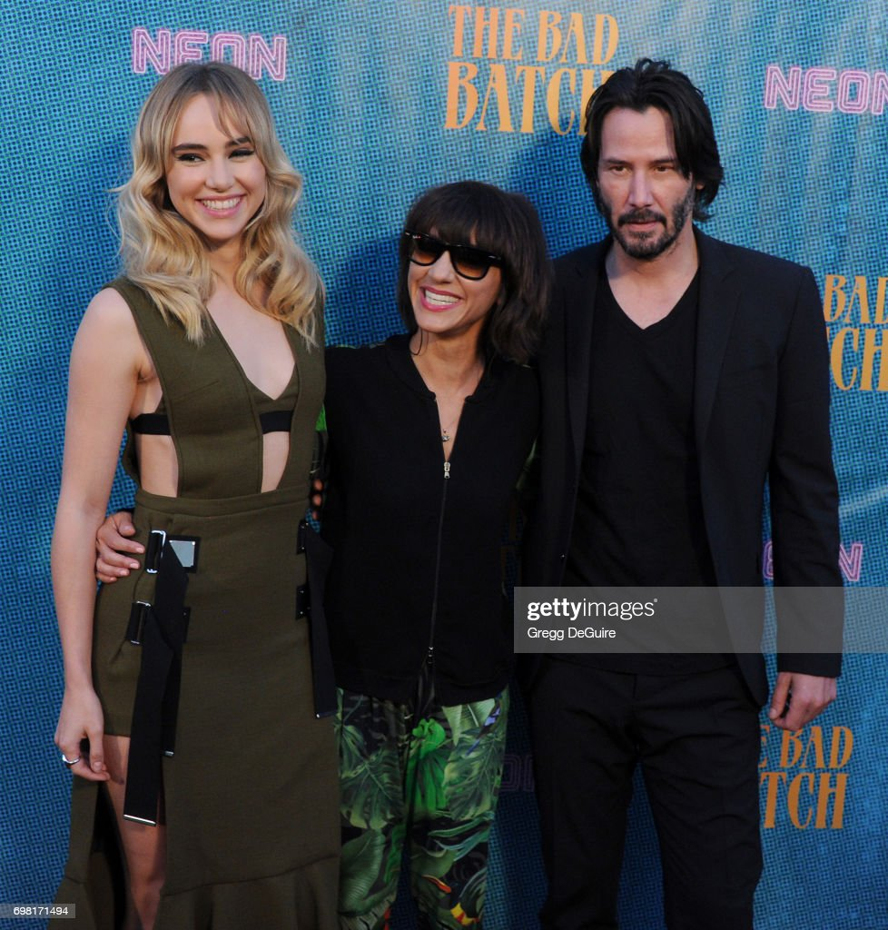 Suki Waterhouse, Ana Lily Amirpour and Keanu Reeves arrive at the premiere of Neon's 'The Bad Batch' at Resident on June 19, 2017 in Los Angeles, California.