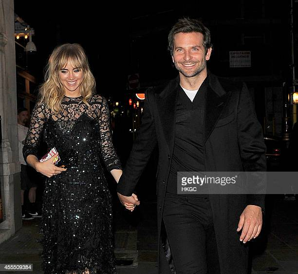 Suki Waterhouse and Bradley Cooper head to J Sheeky restaurant for dinner on September 15 2014 in London England