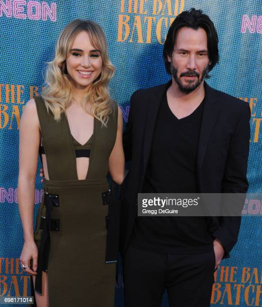 Suki Waterhouse and Keanu Reeves arrive at the premiere of Neon's 'The Bad Batch' at Resident on June 19 2017 in Los Angeles California