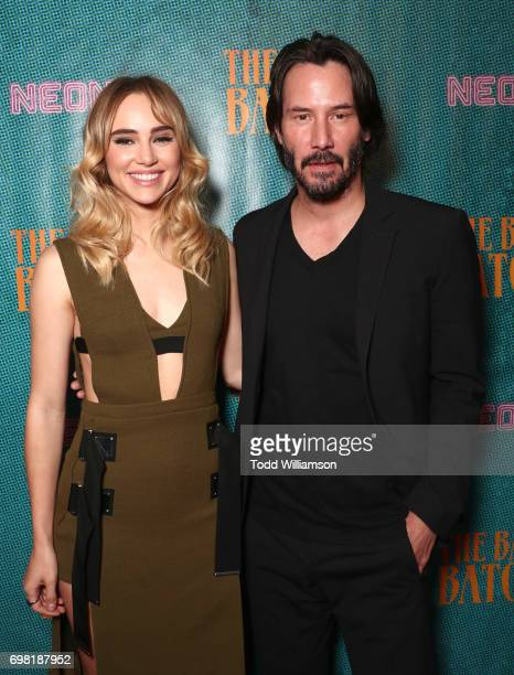 Suki Waterhouse and Keanu Reeves attend the premiere Of Neon's 'The Bad Batch' at Resident on June 19 2017 in Los Angeles California