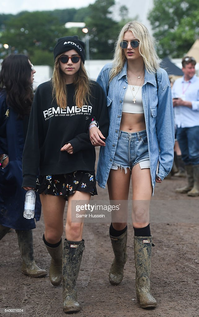 Suki Waterhouse and Lily Donaldson attend Glastonbury Festival 2016 at Worthy Farm, Pilton on June 25, 2016 in Glastonbury, England.