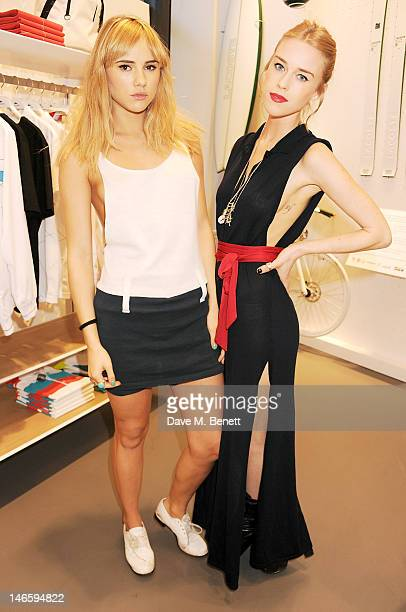 Suki Waterhouse and Mary Charteris attend the launch of Lacoste's new London Flagship store in Knightsbridge on June 20 2012 in London England
