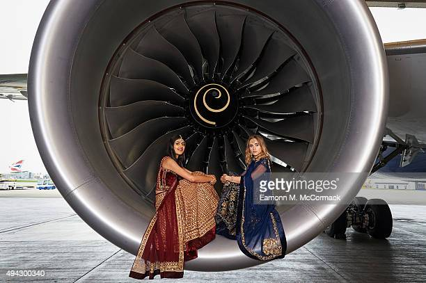 Suki Waterhouse and Neelam Gill pose during a photo shoot to mark the launch of flights by the new British AirwaysBoeing 7879 Dreamliner from London...