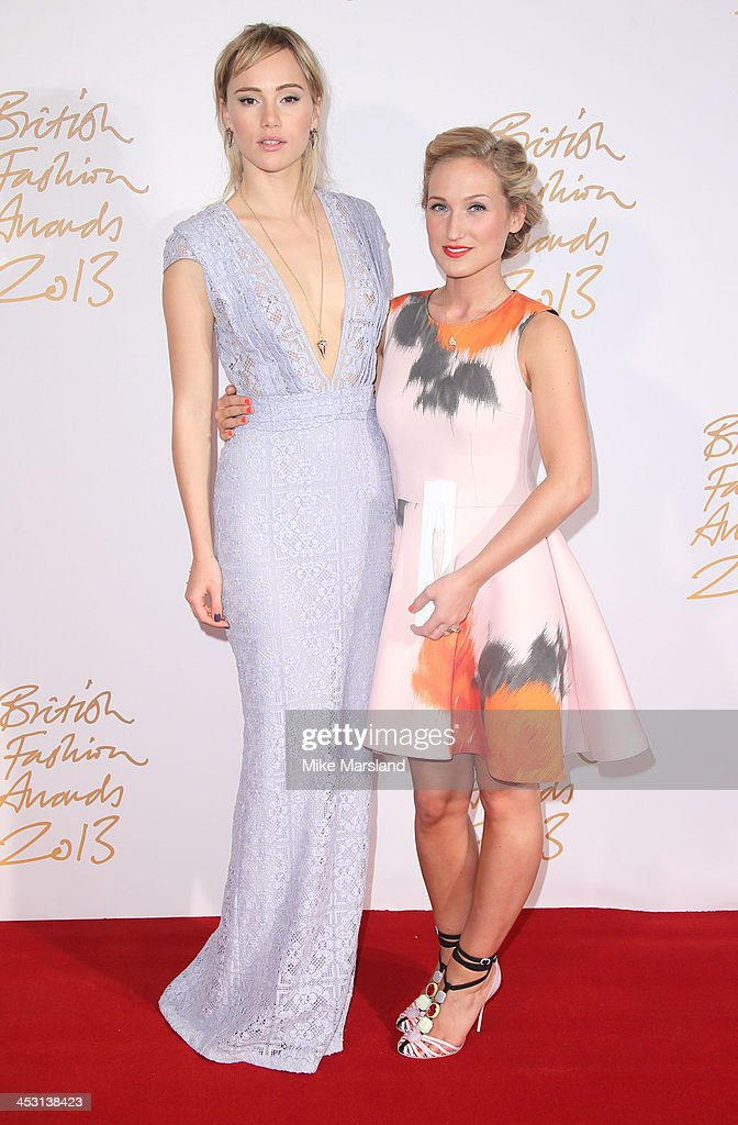 Suki Waterhouse and Sophia Webster poses in the winners room at the British Fashion Awards 2013 at London Coliseum on December 2, 2013 in London, England.