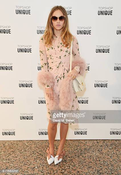 Suki Waterhouse arrives at the Topshop Unique LFW AW16 show at The Tate Britain on February 21 2016 in London England