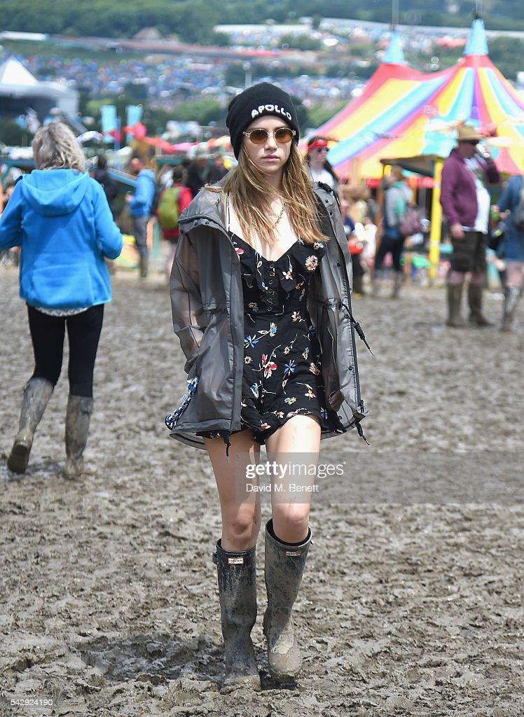 Suki Waterhouse attends day 2 of Glastonbury Festival on June 25, 2016 in Glastonbury, England.