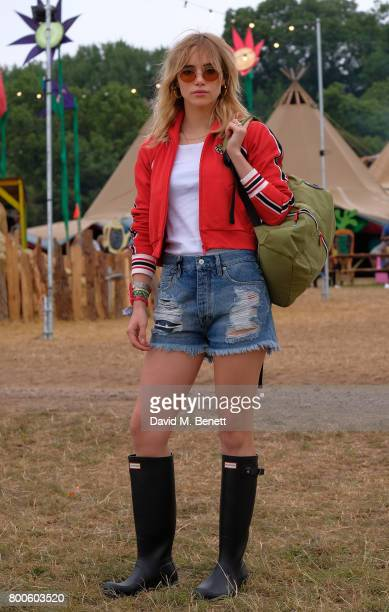 Suki Waterhouse attends day two of Glastonbury on June 24 2017 in Glastonbury England