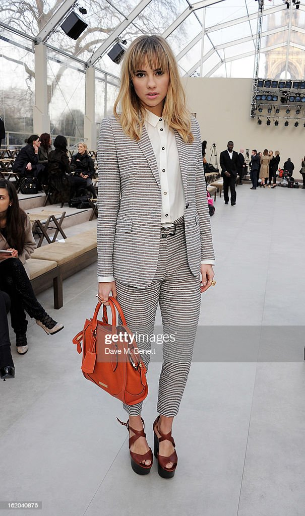 Suki Waterhouse attends the Burberry Prorsum Autumn Winter 2013 Womenswear Show at Kensington Gardens on February 18, 2013 in London, England.