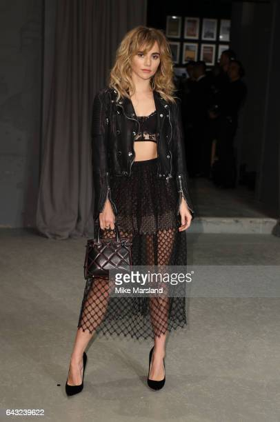 Suki Waterhouse attends the Burberry show during the London Fashion Week February 2017 collections on February 20 2017 in London England
