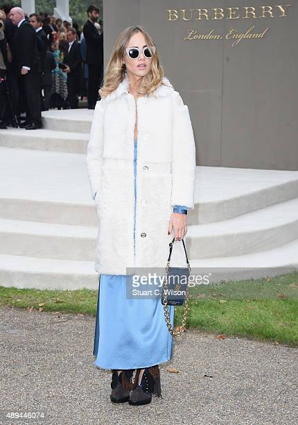 Suki Waterhouse attends the Burberry Womenswear Spring/Summer 2016 show during London Fashion Week at Kensington Gardens on September 21 2015 in...
