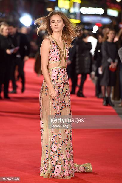 Suki Waterhouse attends the European premiere of 'Pride And Prejudice And Zombies' at the Vue West End on February 1 2016 in London England