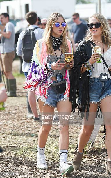 Suki Waterhouse attends the Glastonbury Festival at Worthy Farm Pilton on June 27 2015 in Glastonbury England