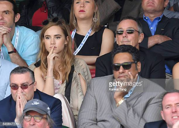 Suki Waterhouse attends the Men's Final of the Wimbledon Tennis Championships between Milos Raonic and Andy Murray at Wimbledon on July 10 2016 in...