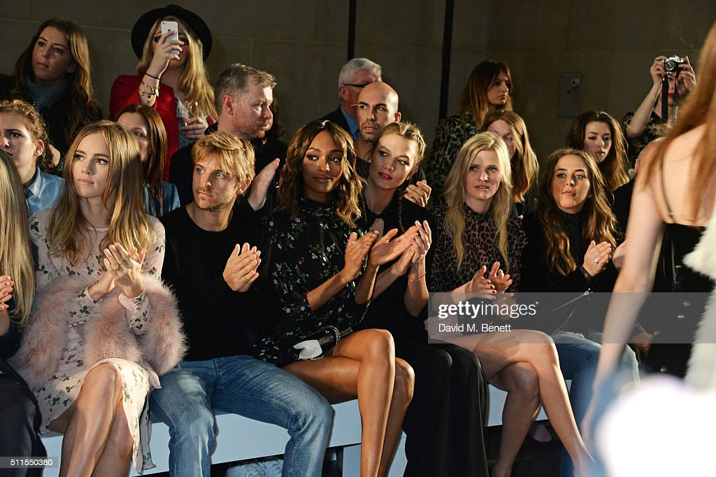 Suki Waterhouse, Brandon Green, Jourdan Dunn, Karlie Kloss, Lara Stone and Chloe Green attend the Topshop Unique at The Tate Britain on February 21, 2016 in London, England.