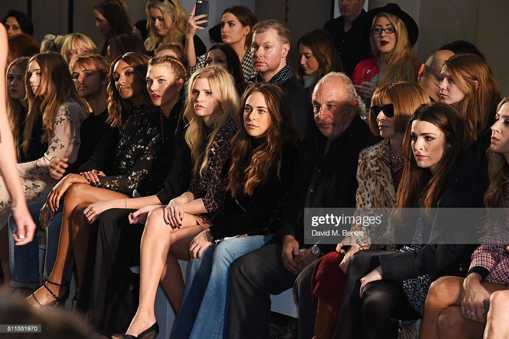 Suki Waterhouse, Brandon Green, Jourdan Dunn, Karlie Kloss, Lara Stone, Chloe Green, Sir Philip Green, Anna Wintour and Bee Shaffer attends the Topshop Unique at The Tate Britain on February 21, 2016 in London, England.