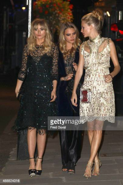 Suki Waterhouse Cara Delevingne and Poppy Delevinge attends the Downing Street reception hosted by Samantha Cameron during London Fashion Week Spring...