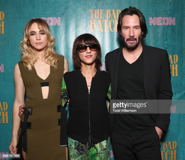Suki Waterhouse Director Ana Lily Amirpour and Keanu Reeves attend the premiere Of Neon's 'The Bad Batch' at Resident on June 19 2017 in Los Angeles...