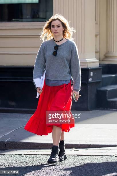 Suki Waterhouse is seen walking in SoHo on October 15 2017 in New York New York