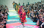 Suki Waterhouse leads out models as they walk the the runway at the Burberry Prorsum show during London Fashion Week Spring Summer 2015 on September...