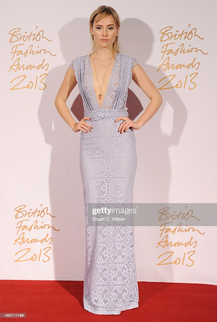 Suki Waterhouse poses in the winners room at the British Fashion Awards 2013 at London Coliseum on December 2, 2013 in London, England.