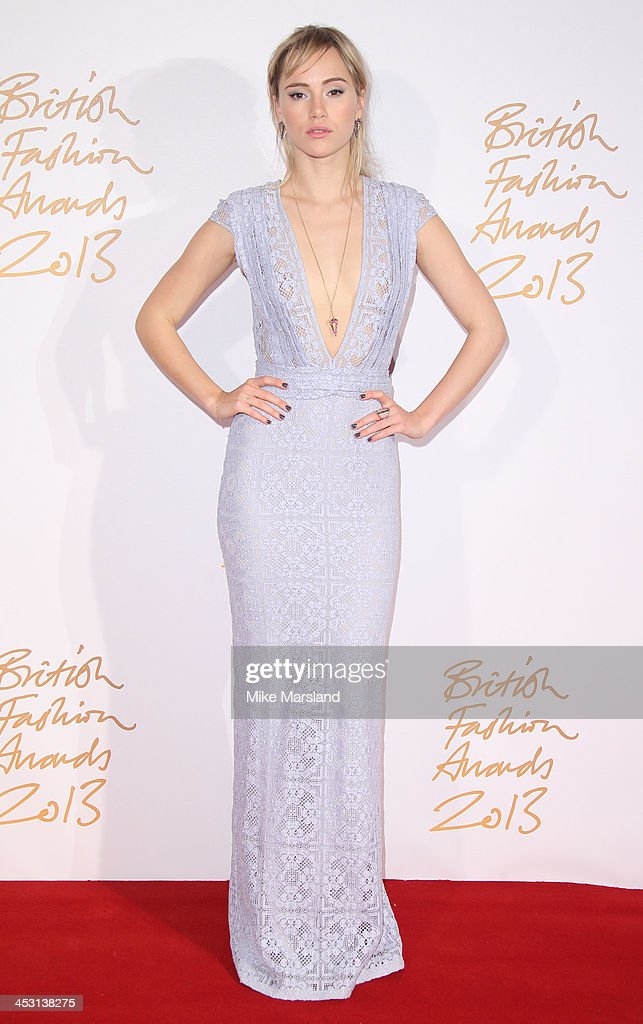<a gi-track='captionPersonalityLinkClicked' href=/galleries/search?phrase=Suki+Waterhouse&family=editorial&specificpeople=7591336 ng-click='$event.stopPropagation()'>Suki Waterhouse</a> poses in the winners room at the British Fashion Awards 2013 at London Coliseum on December 2, 2013 in London, England.