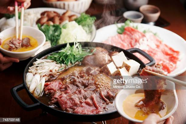 Sukiyaki with beef, tofu, vegetables and mushrooms (Japan)