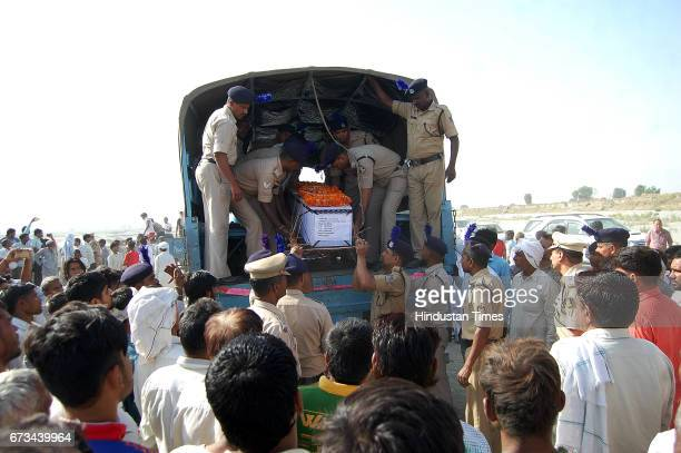 Sukma Martyr CRPF ASI Naresh Kumar's terrestrial body carried by CRPF personnel at his native village Jainpur Tikola on April 26 2017 in Sonepat...