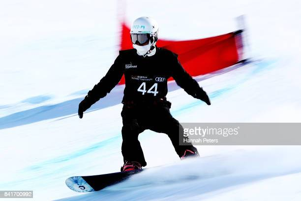 Sukmin Choi of Korea competes in the Men's Banked Slalom Lower Limb 2 Imp final during the Winter Games NZ Para Snowboard Banked Slalom World Cup...