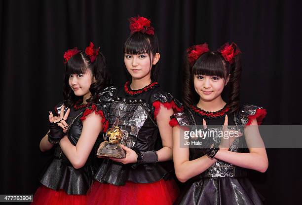 Sukuka Nakamoto 'SuMetal' Yui Mizuno as 'Yuimetal' and Moa Kikuchi as 'Moametal' of Baby Metal win Break Through Award at the Metal Hammer Golden God...